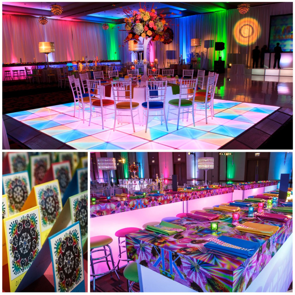 While dreaming up this kaleidoscope party, Vince works closely with the graphics team to create multiple layers of digital art, carrying their theme through every detail including tabletop treatments, spinning lamp shade centerpieces and place card design.