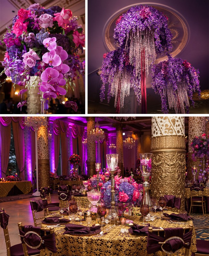 Luxury weddings kay kestler crafted by kehoe - Purple and gold color scheme ...