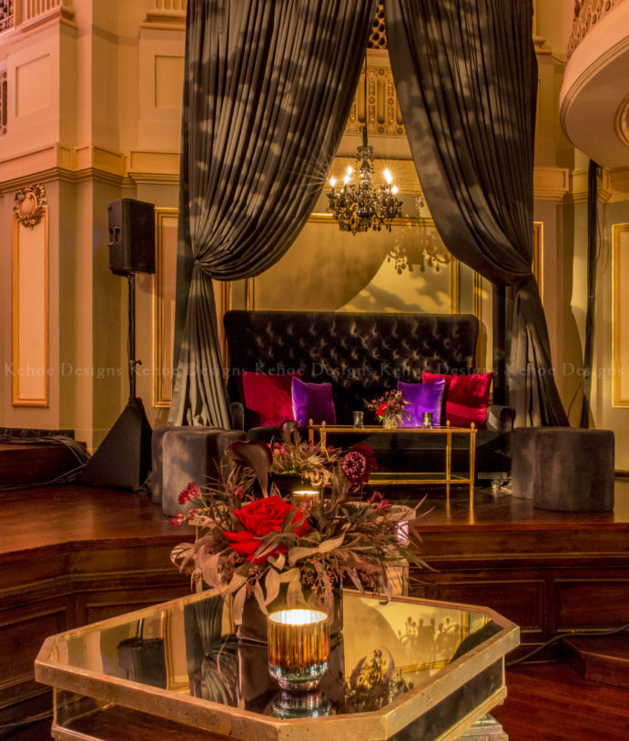 Kehoe Designs, Mal Marcus, event design, event inspiration, On The Edge of Events, branding, holiday, design, Chicago event design, events, corporate party, corporate event, texture, holiday events, floral design, floral Chicago, lush floral, luxury events, furniture, event lighting, lounge, moody design