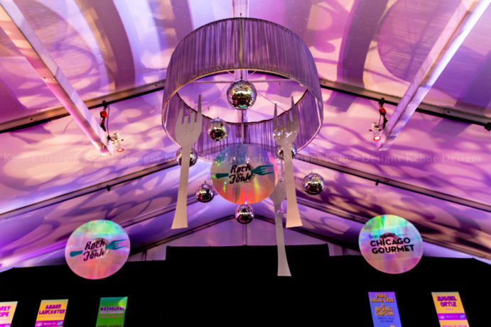 Kehoe Designs, Mal Marcus, branding, corporate, festival, corporate branding, brand activation, experiential marketing, marketing, foodie, Chicago, Chicago Gourmet, Grant Park, custom design, art install, brand styling, textures, VIP lounge, unique activations, sponsor, suspended decor, ceiling treatment, ceiling decor