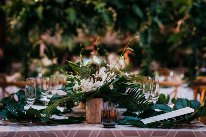 Greenery, Tropical Flowers, Exotic Greenery, Palms, All Green Wedding, Field Museum, Chicago Wedding, Wedding Inspiration, Wedding Decor, Timeless Wedding, Elegant Decor, Wedding Table Inspo, Wedding Style, Wedding Centerpiece, Bride and Groom, Engaged