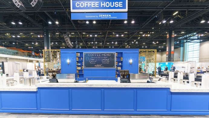 McCormick Place, exhibit, tradeshow, greenery, plant rentals, plantscapes, Floral Exhibits, event design, event decor, event inspiration, Taste of Chicago, coffee shop design, custom install, custom design, celebrations