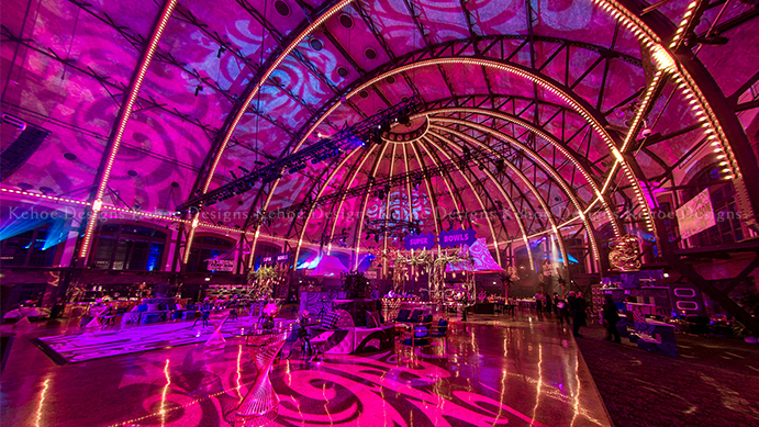 Kehoe Designs, celebration, professional, corporate design, pink lighting, lighting design, buffet stations, food decor, food design, large corporate event, event design, corporate styling, Navy Pier, BlackOak Technical Productions, event production, trends, graphics, dance floor