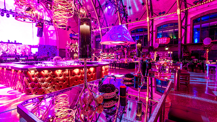 Kehoe Designs, celebration, corporate design, pink lighting, lighting design, buffet stations, food decor, food design, large corporate event, event design, corporate styling, Navy Pier, BlackOak Technical Productions, event production, trends, graphics, dance floor