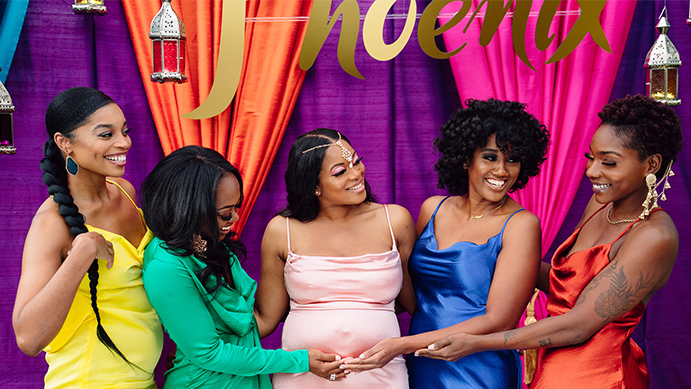 baby shower, sprinkle, gal group, ladies, best friends, squad goals, photo backdrop, photo op, Moroccan theme party, party, celebration